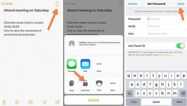 قفل کردن یادداشت در برنامه Notes روش قفل کردن برنامه Notesدر آیفون و آیپد, lock iphone notes