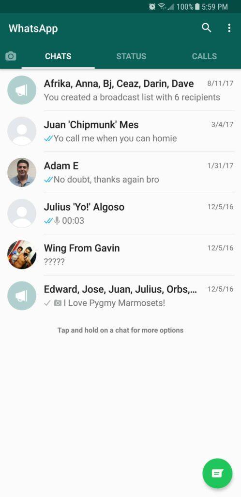 بخش پیام ها در واتساپ WhatsApp raveshtech.ir