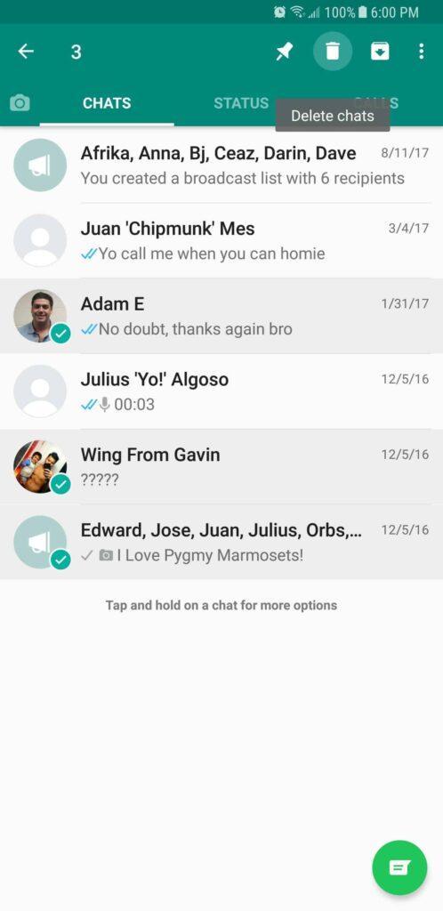 انتخاب گفتگو های دلخواه برای حذف در واتساپ WhatsApp اندروید raveshtech.ir
