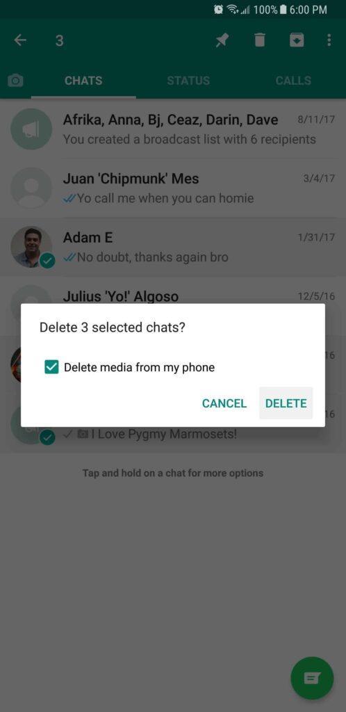 تائید حذف گفتگو های انتخابی در واتساپ WhatsApp raveshtech.ir