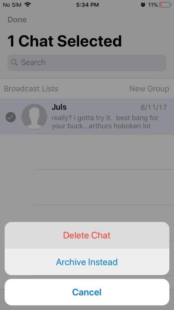 تائید حذف گفتگو های انتخابی در واتساپ WhatsApp آیفون raveshtech.ir