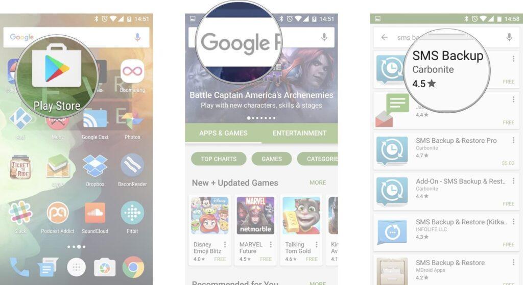 باز کردن برنامه Google Play Store از برگه Home یا کشوی اپ ها, در نوار جستجو نام SMS Backup & Restore را جستجو کنید, در میان نتایج بدست آمده SMS Backup & Restore، نخستین نتیجه خواهد بود,