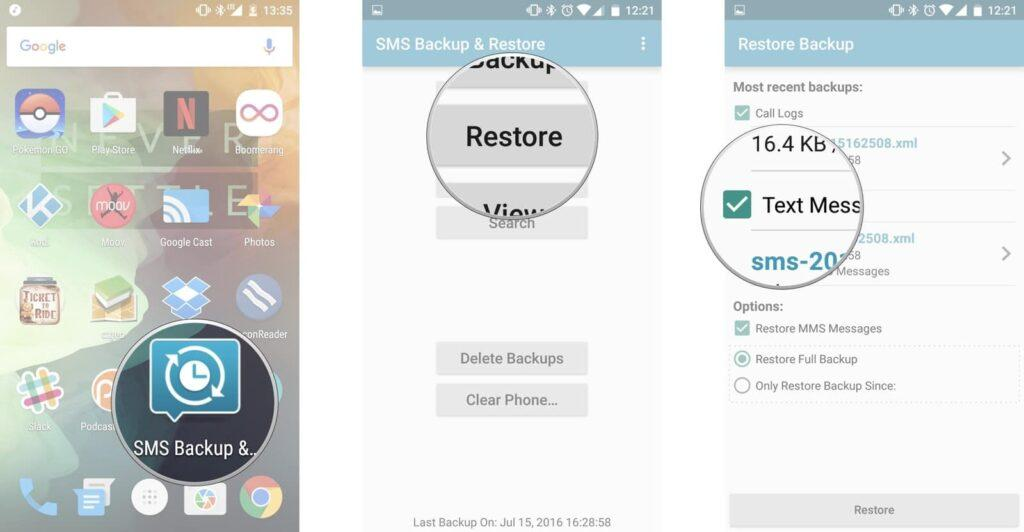 باز کردن برنامه Google Play Store از برگه Home یا کشوی اپ ها, گزینه Restore را بتپید, دکمه next را زده تا فایل بکاپی را که پیشتر گرفته اید بازگردانی کنید. بسته به این که شما چه چیز هایی را برای پشتیبان گیری برگزیده اید، می توانید گزینه ایی همانند Call Logs و یا SMS messages را پیش رو داشته باشید.