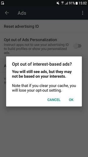 """بخش Ads یا تبلیغات را برگزینید, گزینه """"Opt out of Ads Personalization"""" یا """"انصراف از شخصی سازی آگهی ها"""" را فعال نمائید,روشتک,raveshtech"""