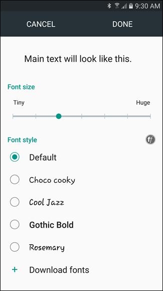 ناگفته نماند که بخش Font size در برندهایی که اندروید 7 نیز دارند کمی متفاوت بنظر می رشد. برای نمونه اسکرین شات سمت چپ مربوط به گوشی سامسونگ بوده، در حالی که اسکرین شات سمت راست مربوط به گوشی LG می باشد,روشتک,raveshtech