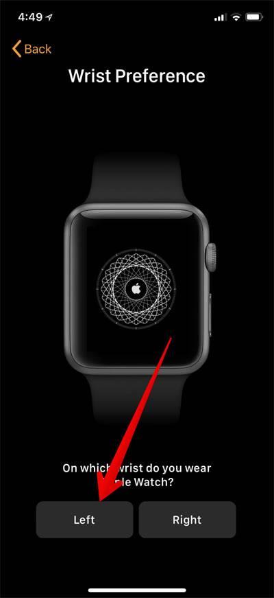 چپ و راست بودن مچ دست را برای بستن اپل واچ به دست انتخاب کنید, برای پذیرش شرایط و قوانین دکمه Agree را بتپید,روشتک,raveshtech