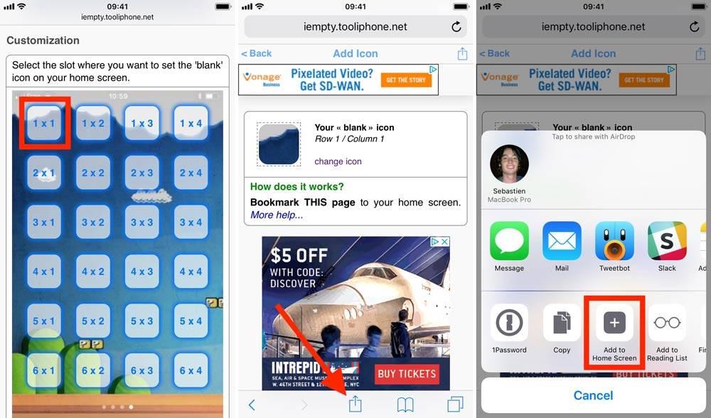 در برگه نخست یا Home screen، روی آیکون دلخواه خود تپیده و آن را نگاه دارید تا وارد حالتی که می توانید در آن اپلیکیشن های را جابجا و یا حذف کنید شوید. برگه را به سمت چپ swip کنید تا به سمت راست Home screen گوشی خود برسید که این بخش خالی از آیکون می باشد. از این بخش یک اسکرین شات بگیرید, در آیفون خود بکمک مرورگر Safari به اینhttps://iempty.tooliphone.net آدرس بروید, گزینه Create BLANK icons را انتخاب کنید, روی Add بتپید و سپی اسکرین شاتی که در گام نخست از صفحه گوشی خود گرفته بودید را Upload کنید, پس از آپلود اسکرین شات. بخش Customization را پیدا کنید,raveshtechروشتک