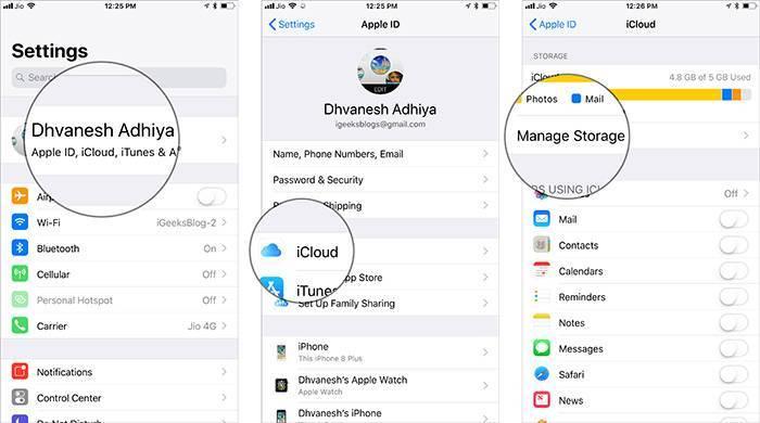 بنر Apple ID خود را بتپید, سپس iCloud را بتپید, Manage Storage را بتپید,روشتک,raveshtech