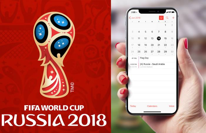 تصویر افزودن جدول بازی های جام جهانی 2018 به تقویم آیفون