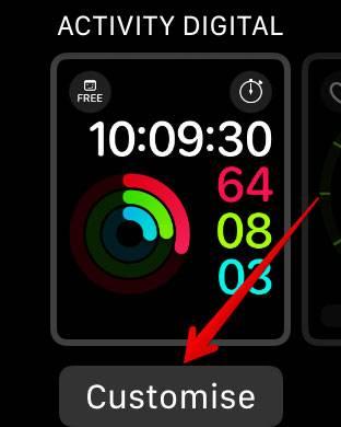 برای دسترسی به نما یا watch face اپل واچ، تاج دیجیتال یا Digital Crown آن را فشار دهید, برای رفتن به حالت شخصی سازی یا customization mode، watch face را برای چند لحظه فشار دهید, Watch face دلخواه خود را برگزیده و سپس روی Customize بتپید,روشتک,raveshtech