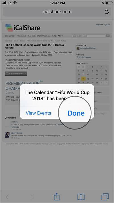 پس از رفتن به نشانی سایت، دکمه Subscribe to Calendar را بتپید, در پنجره پدیدار شده، دکمه Subscribe را بتپید, سپس روی دکمه Done تپیده و آن را تائید,نمائید.,روشتک,raveshtech,روشتک,raveshtech