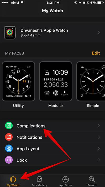 اپلیکیشن Watch را در آیفونی که با اپل واچ خود جفت کرده اید باز کنید, در بخش My Watch روی Complication بتپید,روشتک,raveshtech