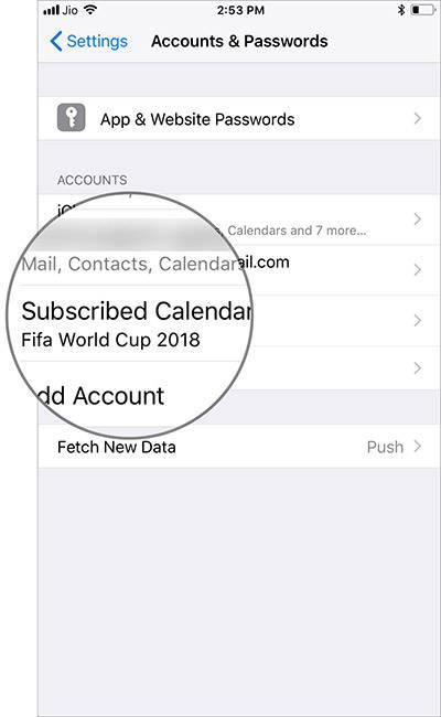 سپس Accounts & Passwords را بتپید, پس از آن Subscribed Calendars را بتپید.,روشتک,raveshtech