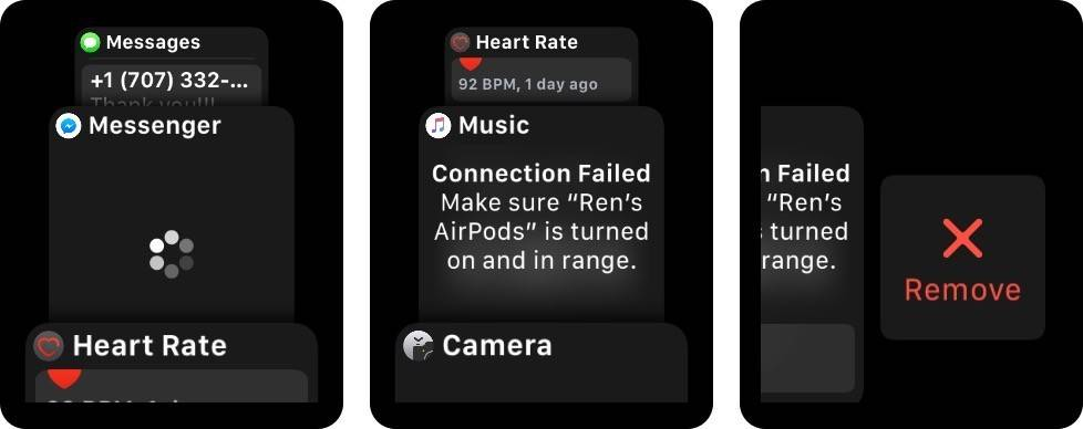 دکمه کناری یا Side button اپل واچ را بفشارید, برای یافتن اپلیکیشنی که می خواهید آن را بردارید در فهرست اپل واچ خود swip یا scroll کنید, پس از یافتن اپلیکیشن دلخواه آن را به سمت چپ، swip کنید تا دکمه Remove، پدیدار شود, Remove را بتپید,raveshtech,روشتک