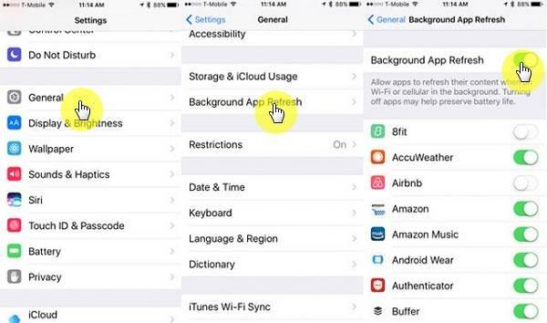 غیرفعال کردن گزینه Background App Refresh,روشتک,raveshtech