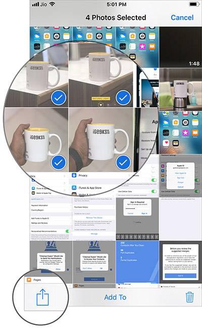 عکس های دلخواه خود را برای افزودن برگزیده و سپس دکمه Share یا اشتراک گذاری را بتپید. آیکونی چارگوش مانند با یک پیکان سر بالا.,روشتک,raveshtech