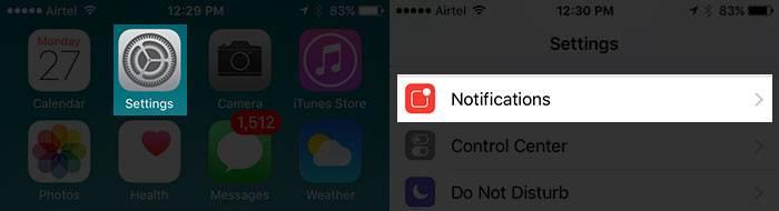 در آیفون یا آیپد خود به بخش Settings یا تنظیمات بروید, سپس Notifications (اعلان ها) را بتپید,روشتک,raveshtech