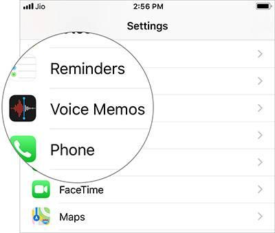 به پائین بخش تنظیمات رفته، و Voice Memos را بتپید.,روشتک,raveshtech