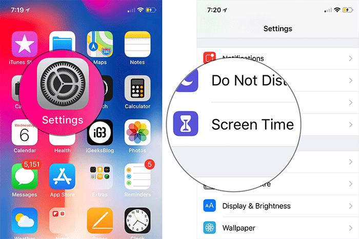 به بخش Settings یا تنظیمات آیفون خود بروید. Screen Time option را برگزینید,روشتک,raveshtech