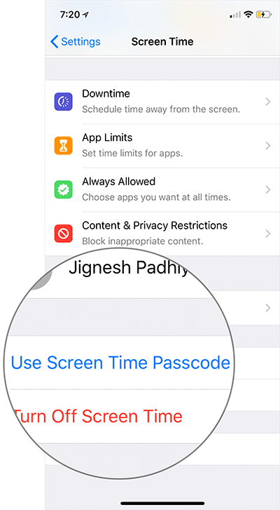 Use Screen Time Passcode را بتپید,روشتک,raveshtech