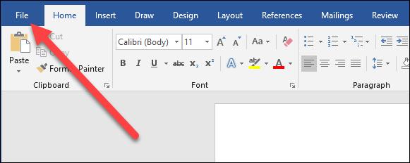 در نوار بالای برنامه word منوی File را بکلیکید,روشتک,raveshtech