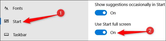 در فهرست سمت چپ، tab یا زبانه Start را بتپید و در سمت راست پنجره سوئیچ زیر گزینه Use Start Full Screen را کلیک کنید تا روشن شود, روشتک,raveshtech