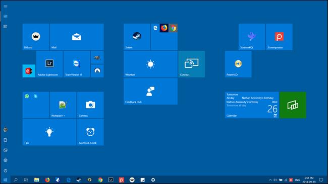 گام پسین بسیار آسان است و تنها با زدن دکمه Start خواهید دید که صفحه نمایش منوی Start، تمام صفحه گردیده,روشتک,raveshtech
