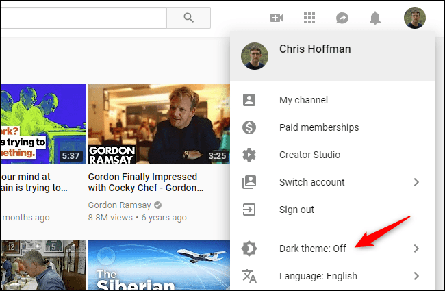 روش فعال کردن Dark Mode در وبسایت YouTube,روشتک,raveshtech
