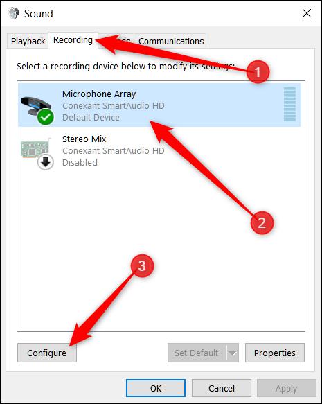 در پنجره Sound برای دیدن تنظیمات میکروفون، زبانه Recording را کلیک کنید. سپس در فهرست میکروفون ها، میکروفون دلخواه خود را برگزینید و دکمه configure را بکلیکید.,روشتک,raveshtech