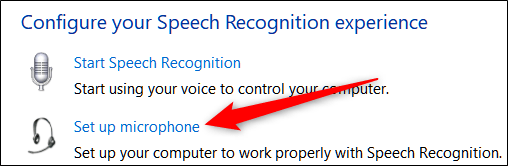 در پنجره Speech Recognition لینک و پیوند Set Up Microphone را کلیکید.,روشتک,raveshtech