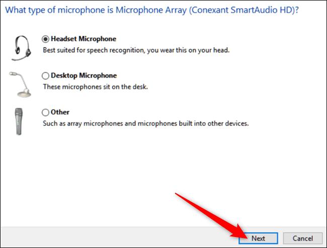 در پنجره تازه، نوع میکروفون خود را برگزیده، سپس دکمه Next را کلیکید.,روشتک,raveshtech