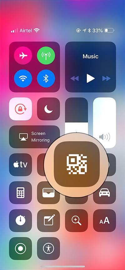 روش استفاده از Scan QR Code در بخش Control Center آیفون و آیپد iOS 12,روشتک,raveshtech