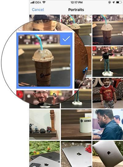 پس از انجام گام بالا، همه عکس های portrait را در نمایشگر خود خواهید دید. یکی از عکس ها را برای آپلود، به دلخواه برگزینید.,چگونه با آیفون خود، عکس های 3D را در Facebook پست نمائیم؟,روشتک, raveshtech
