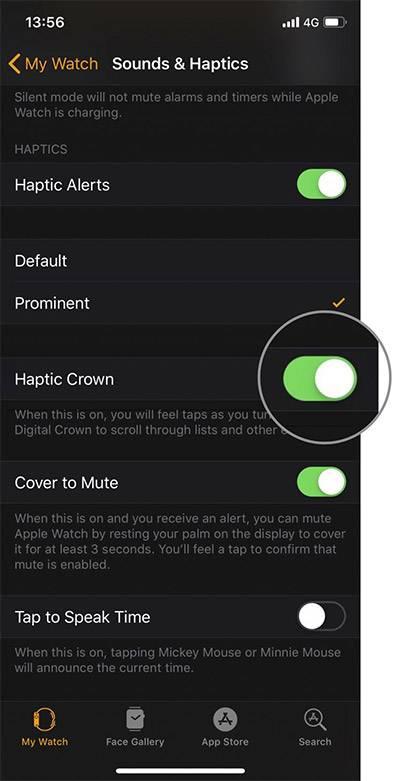 چگونه تاج لمسی اپل واچ را با استفاده از آیفون غیرفعال کنیم, در آیفونی که با اپل واچ خود، جفت یا pair کرده اید، برنامه Watch را باز کنید. اکنون Sounds & Haptics را بتپید, با تپیدن سوئیچ کنار Haptic Crown، آن را غیرفعال و خاموش کنید,روشتک,raveshtech