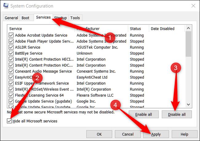 با انجام گام بالا، پنجره System Configuration باز می شود, در میان زبانه های بالای پنجره، زبانه Services را کلیک کنید, گزینه Hide All Microsoft Services را در پایین پنجره تیک دار کنید و پس از آن دکمه Disable All را کلیکیده، سپس Apply و پس از آن دکمه OK را کلیکید,روشتک,raveshtech