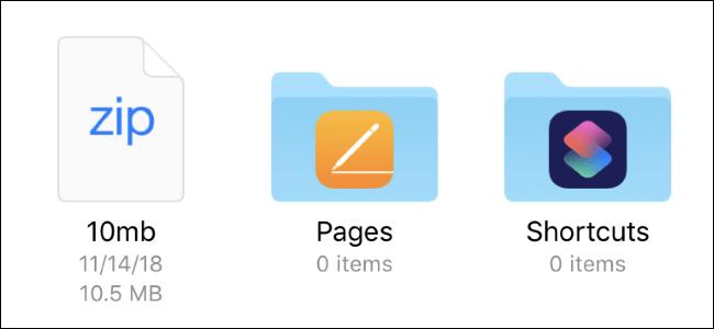 تصویر روش Unzip کردن فایل های Zip با برنامه Files در آیفون و آیپد