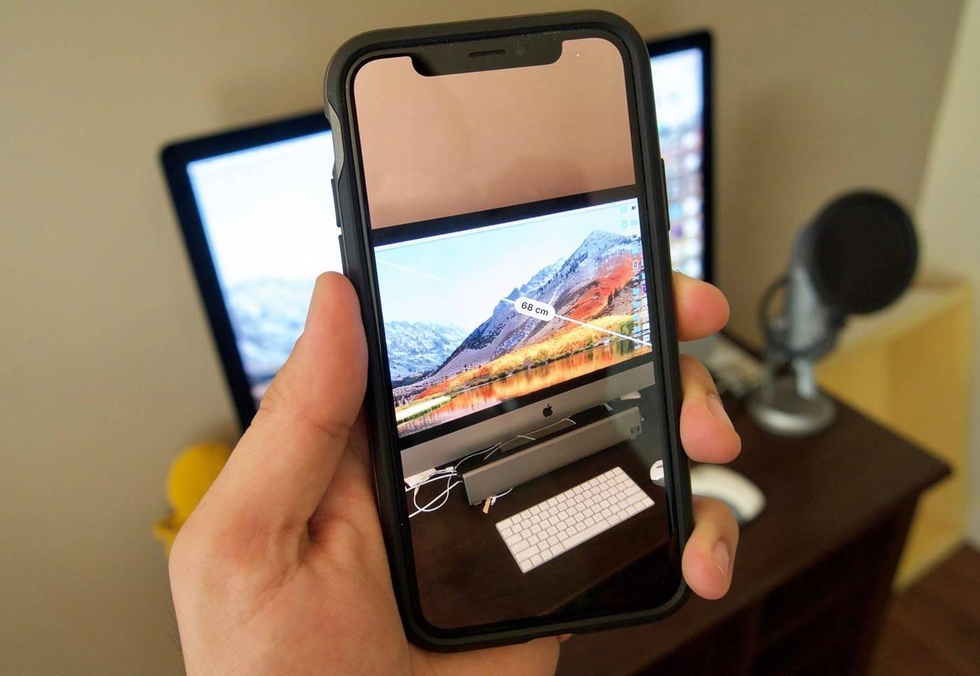تصویر روش استفاده از برنامه Measure در iOS 12