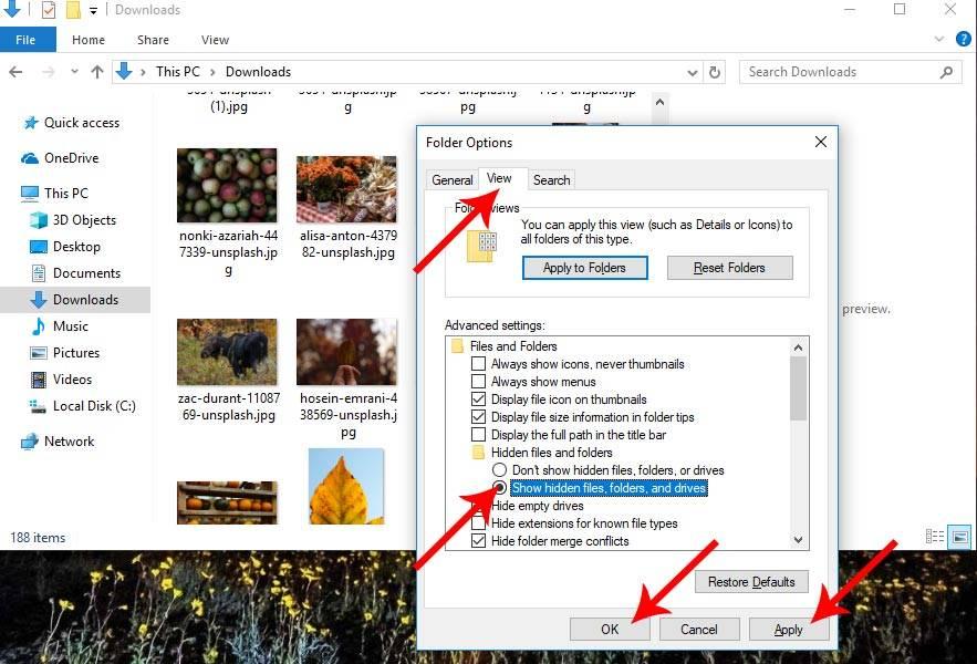 روش نمایش فایل های پنهان شده در ویندوز 10