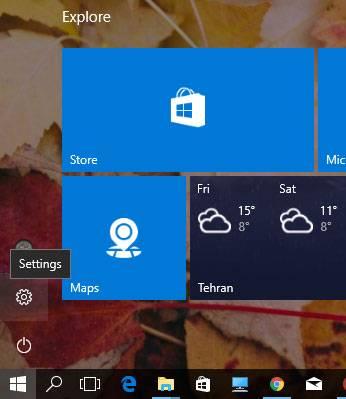 منوی Start را کلیک کنید. بعنوان روش جایگزین می توانید کلید ویندوز را بفشارید, سپس با کلیک آیکون چرخ دنده بخش Settings یا تنظیمات بروید. کلید میانبر بخش تنظیمات Windows+i می باید,روشتک,raveshtech