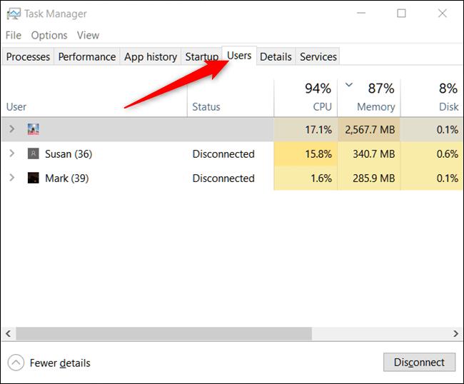 چگونه با استفاده از Task Manager می توان اکانت های دیگر در ویندوز 10 را sign out کرد؟,روشتک,raveshtech