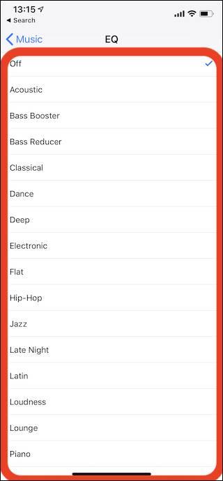 روش انتخاب EQ Preset در بخش Music آیفون یا آیپد,روشتک,raveshtech
