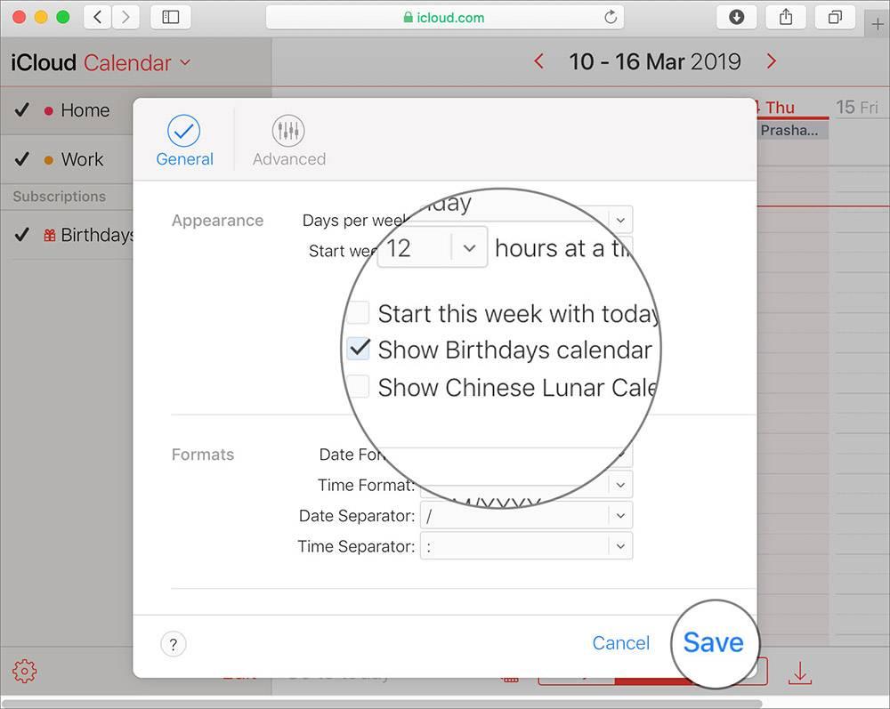 نمایش زادروز و Birthday در تقویم اپل iCloud.com,روشتک,raveshtech