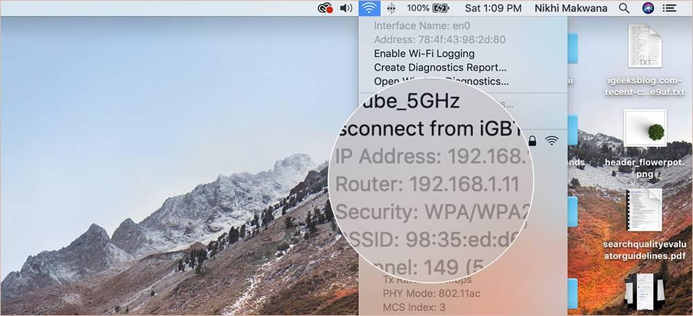 روش پیدا کردن آدرس IP روتر در بخش Status Bar مک,روشتک,raveshtech