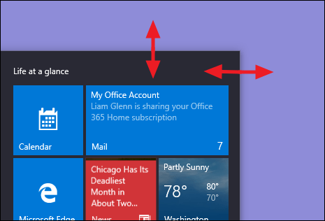 چگونه سایز و اندازه منوی Start را در ویندوز 10 تغییر دهیم؟