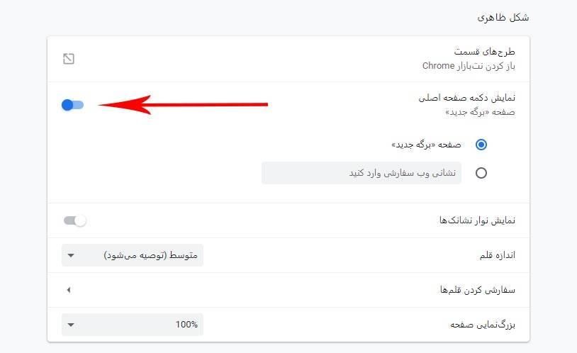 روش فعال کردن دکمه Home Page در مرورگر Google Chrome,روشتک,raveshtech