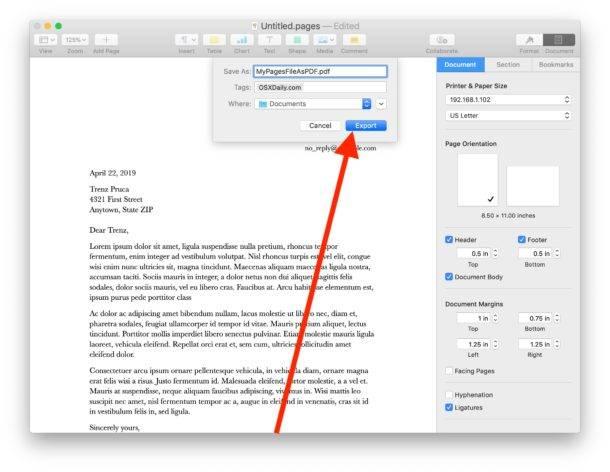 تبدیل فایل Pages به PDF در مک,روشتک,raveshtech