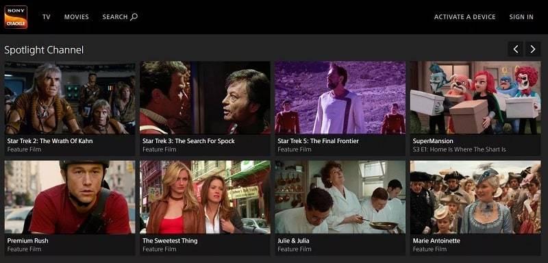 سرویس پخش تبلیغاتی Crackle سونی که از یک سرویس پخش تبلیغاتی پخش فیلم ها و نمایش های تلویزیونی استفاده می کند