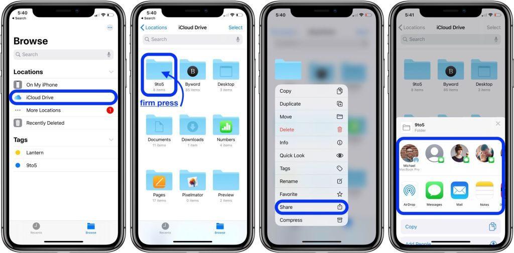 اشتراک گذاری پوشه های iCloud Drive, اشتراک گذاری پوشه در آیکلود,  آیکلود iOS 13, روشتک,raveshech, آیکلود, آیفون iCloud, آیکلود آیفون,