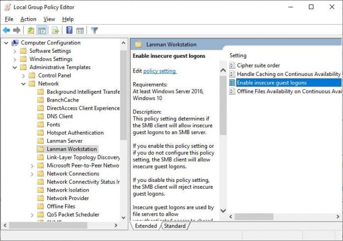 فعال سازی ویژگی Enable insecure guest logonsبه جهت رفع مورد دسترسی به فایل ها و فولدر های اشتراک گذاشته شده تحت شبکه