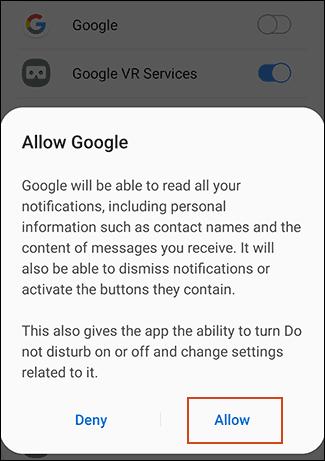 روش تنظیم دستیار گوگل یا Google Assistant برای خواندن نِویت ها (Notifications – اعلان ها)